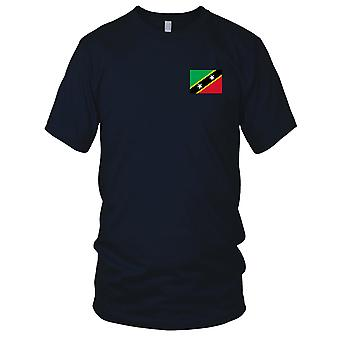 Saint Kitts Nevis Country National Flag - Embroidered Logo - 100% Cotton T-Shirt Ladies T Shirt