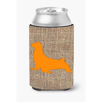 Seal Burlap and Orange Can or Bottle Beverage Insulator Hugger BB1027