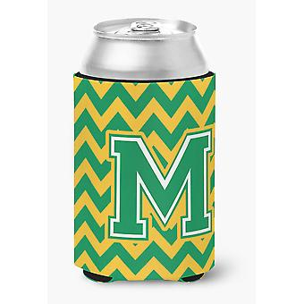 Letter M Chevron Green and Gold Can or Bottle Hugger
