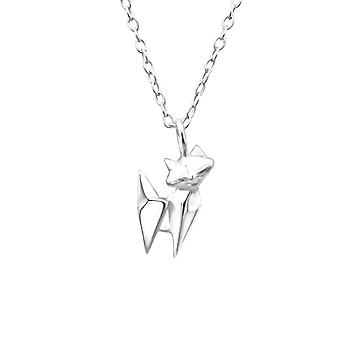 Origami Cat - 925 Sterling Silver Plain Necklaces - W25816x