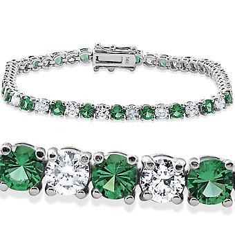 8ct Emerald & Diamond Tennis Bracelet 14K White Gold 7
