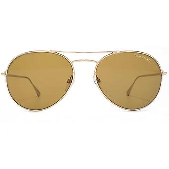 Tom Ford Ace-02 Sunglasses In Shiny Rose Gold Brown