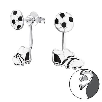 Football And Boots - Epoxy Colour + 925 Sterling Silver Ear Jackets & Double Earrings - W28004x