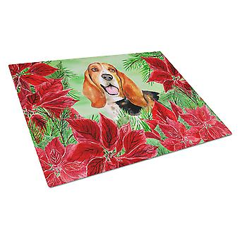 Carolines Treasures  CK1352LCB Basset Hound Poinsettas Glass Cutting Board Large