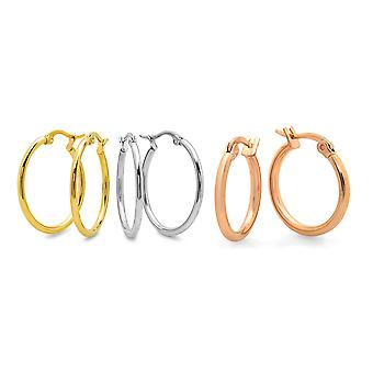 Ladies Set Of 3 Mini Hoop Earrings