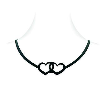 Silicone black effect tattoo hearts necklace