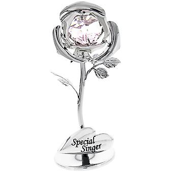 Beautiful Special Singer Silver Plated Rose with Pink Swarovski Crystal