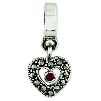 Sterling Silver Polished Antique finish Reflections Marcasite Heart Dangle Bead Charm