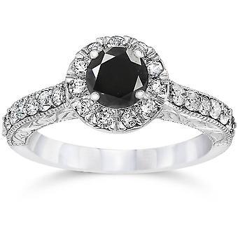 1 3/4ct Vintage Treated Black Diamond Engagement Ring 14K White Gold