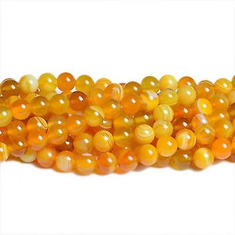 Strand 40+ Yellow Banded Agate 8mm Plain Round Beads CB36938-2