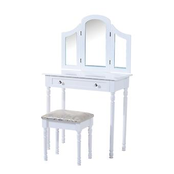 HOMCOM Large Dressing Table Wooden Vanity Set Furniture Wood Make Up Desk Cosmetics Drawer w/ 3 Mirrors & Stool White
