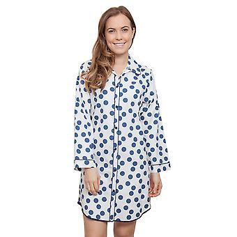 Cyberjammies 3844 Women's Zoe White Spotted Sleep Shirt Nighty Nightshirt