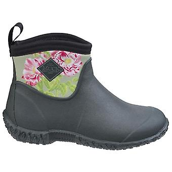 Muck Boots Muckster RHS Green and Rose Print Ankle Gardening Boots