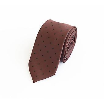 Schlips Krawatte Krawatten Binder 6cm braun, schwarz gepunktet Fabio Farini