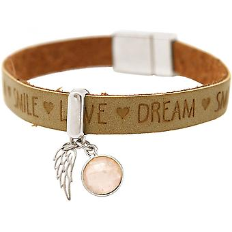 -Bracelet - Angel - Wings - 925 Silver - WISHES - Brown sand - Rose Quartz - pink - magnetic closure