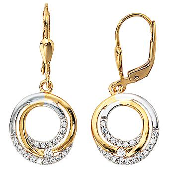 Boutons 333 /-g-round gold earrings gold with Zircons