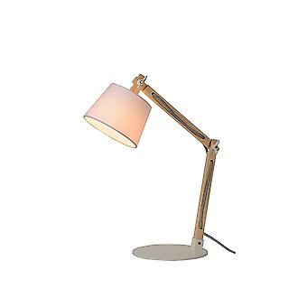 Lucide OLLY Quirky White Fabric Shade Wood Tall Desk Lamp
