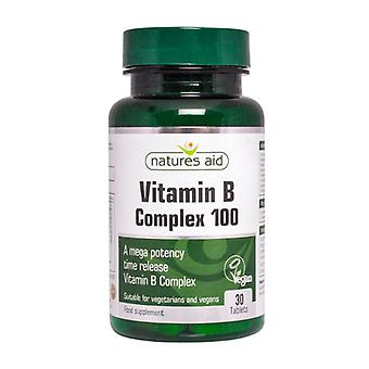 Natures Aid Mega Vitamin B Complex 100 Time Release, 30 tablets. Suitable for Vegans.