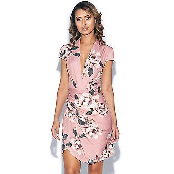 Floral Print Plunge Neck Dress