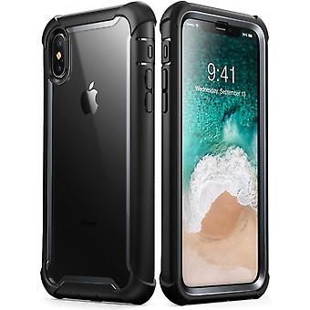 iPhone Xs Max Case,[Ares] Full-Body Rugged Clear Bumper Case with Built-in Screen Protector (2018 Release) (Black)