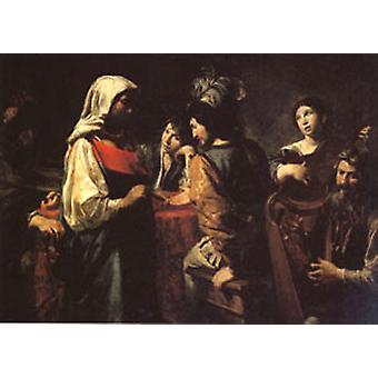 The Fortune Teller, VALENTIN DE BOULOGNE, 40x60cm with tray