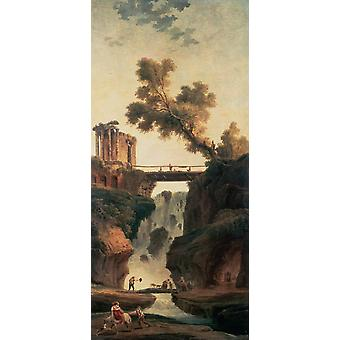 Landscape with Waterfall, Hubert Robert, 80x40cm