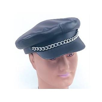 Punk Leather Cap. Black.
