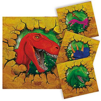 Serviettes of napkins dinosaur Dino party birthday 25x25cm 16 piece