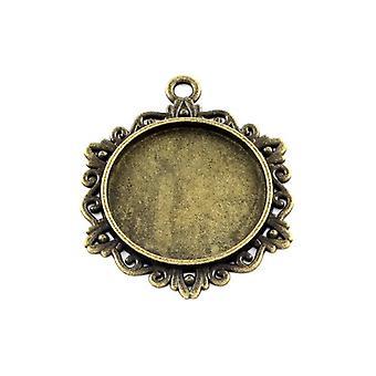 Packet 5 x Antique Bronze Tibetan Coin Cabochon Settings 34 x 42mm HA13105