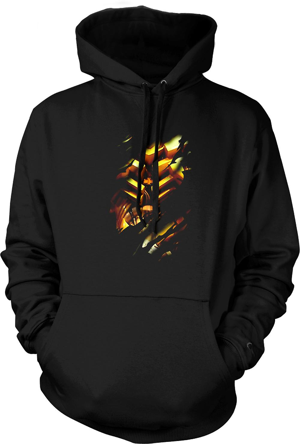 Mens Hoodie - Bumble bee Ripped Design - Transformers Inspired