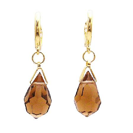 Designer Terrific Gift for Bridesmaid Smoked Topaz Teardrop Earrings