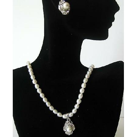 Handmade White Freshwater Pearls Pendant Necklace & Earrings Jewelry