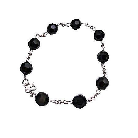 Round Jet Crystals Bracelet Sterling Silver Clasp Bracelet Jewelry
