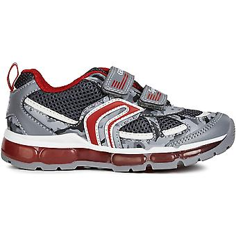Geox Boys Android J9244C Lights Trainers Grey Red