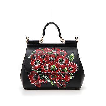 Dolce E Gabbana Black/red Leather Messenger Bag
