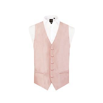 Dobell Mens licht roze vest Fit Regular Dupion 5 knop