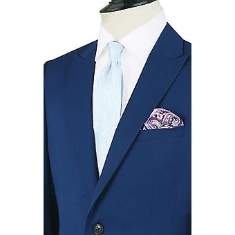 Dobell Mens Bright Blue Suit Jacket Slim Fit Peak Lapel