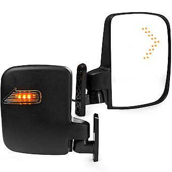 2x Universal Golf Cart Side Mirrors w/ LED Turn Signal Indicators for EZGO, Club Car, Yamaha and Other Golf Cart Models