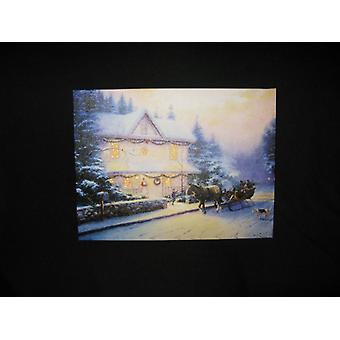 Fibre Optic Canvas Print 30x40cm Decoration Winter Snow Scene With Country House (WSLSC03)