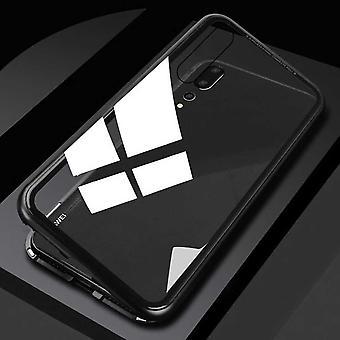 Für Xiaomi Redmi Note 7 und 7 Pro Magnet / Metall / Glas Case Bumper Schwarz / Transparent Tasche Hülle Neu