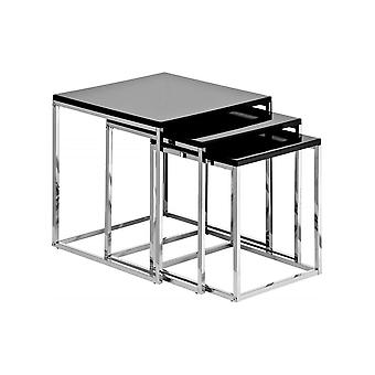 Fusion Living Black High Gloss And Chrome Nest Of Tables