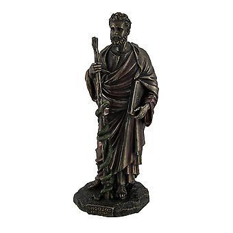 Hippocrates Greek Father of Medicine Holding Book & Staff Bronze Finish Statue