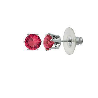 Evige samling Tara Fuchsia Pink Crystal sølv Tone Stud gennemboret øreringe