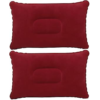 TRIXES Inflatable Pillow for Travel or Camping - Blow up Pillow – Burgundy Twin Pack