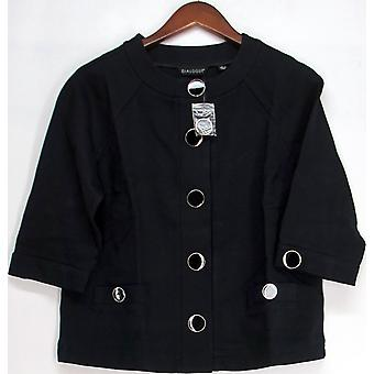 Dialogue 3/4 Sleeve Ponte Knit Button Front Jacket Navy Blue A93410