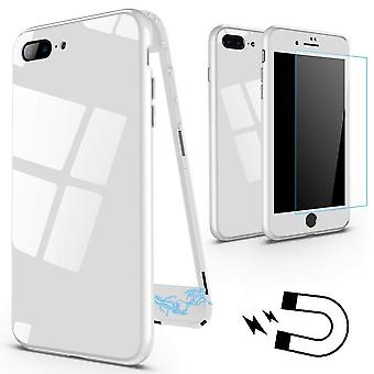 Magnetic case with stained back glass for iPhone 7/8-White
