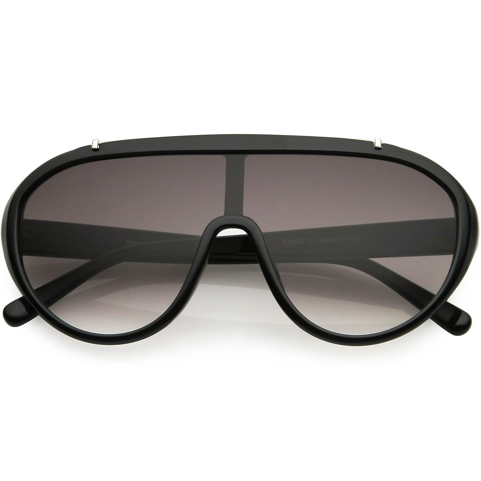 Sporty Fashion Oversize Metal Brow Bar Accent Shield Sunglasses 58mm