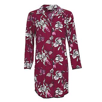 Cyberjammies 4270 Women's Alice Burgundy Red Mix Floral Cotton Nightshirt