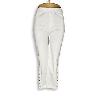 Susan Graver Femmes-apos;s Pantalon Tricot Capri W/ Boutons de nouveauté Blanc A289435