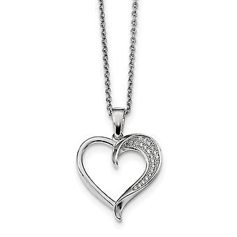 925 Sterling Silver Pave Rhodium-plated Lobster Claw Closure and Cubic Zirconia Polished Heart Necklace - 18 Inch